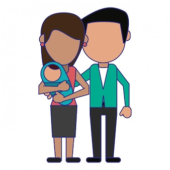 Family avatar faceless cartoon blue lines