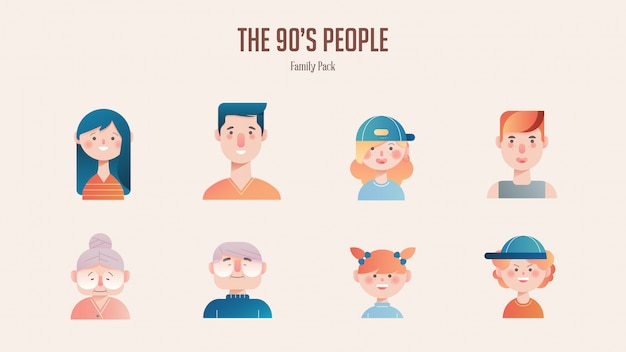 Family avatar pack in gradient illustration