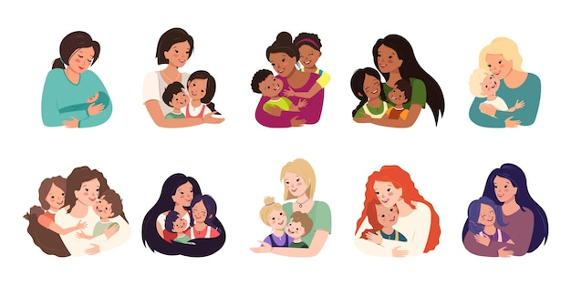 가족 아바타 세트. 엄마는 아이들을 안아줍니다.