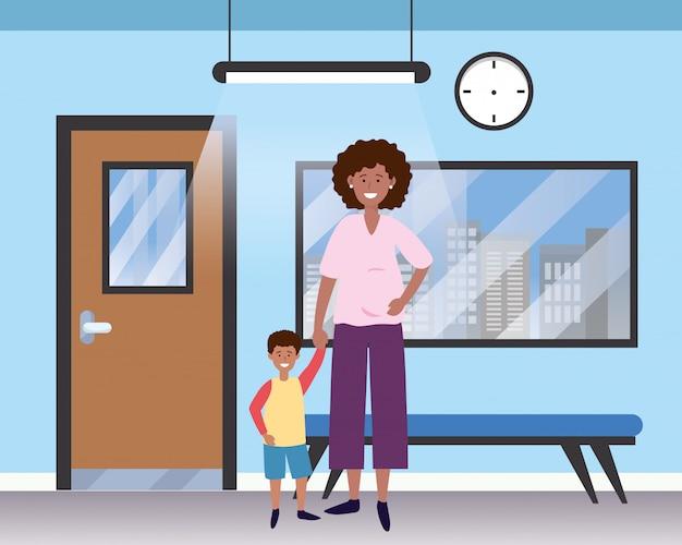 Family baby care cartoon