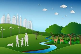 ペーパーアートの緑の自然景観に戻って家族