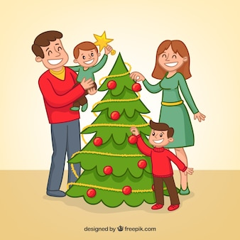 Famiglia sfondo che decora l'albero di natale