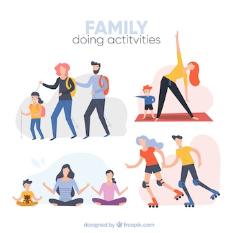 Family background doing different activities