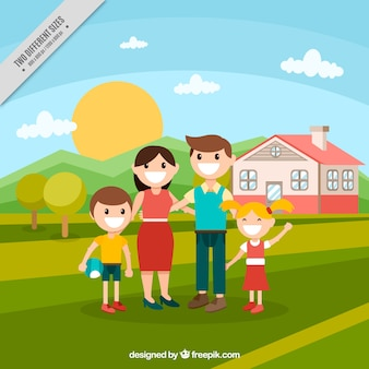 Family background with a house in the field in flat design