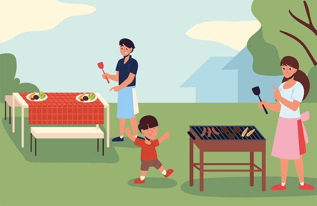 가족 뒤뜰 바베큐 파티