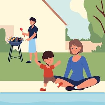Family in the backyard