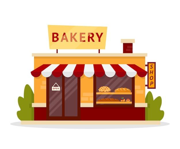 家族のパン屋のファサードのイラスト。ペストリー店の建物の外観。菓子、スイーツショップ商品、品揃え。焼きたてのパンのクリップアート。ショッピング、商取引、貿易