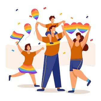 Famiglia e palloncini che celebrano il giorno dell'orgoglio