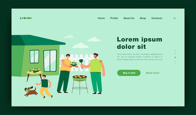 Family barbecue dinner. mother, father and kid with dog grilling bbq meat in garden.  illustration for eating outdoors, backyard, house concept landing page
