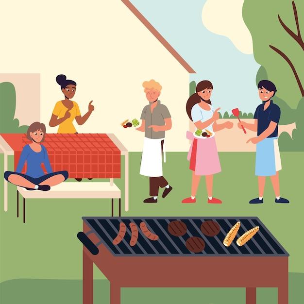 Семейная вечеринка с барбекю на заднем дворе
