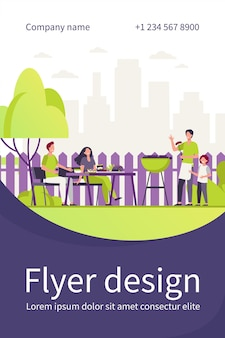 Family barbecue party on backyard. people grilling food in park or garden, sitting at table and eating. flyer template