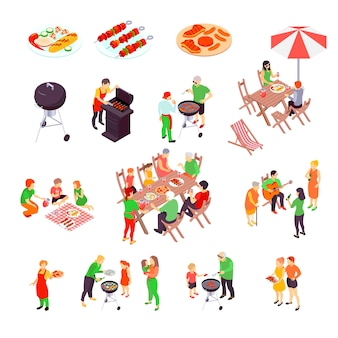 Family barbecue picnic isometric scenes