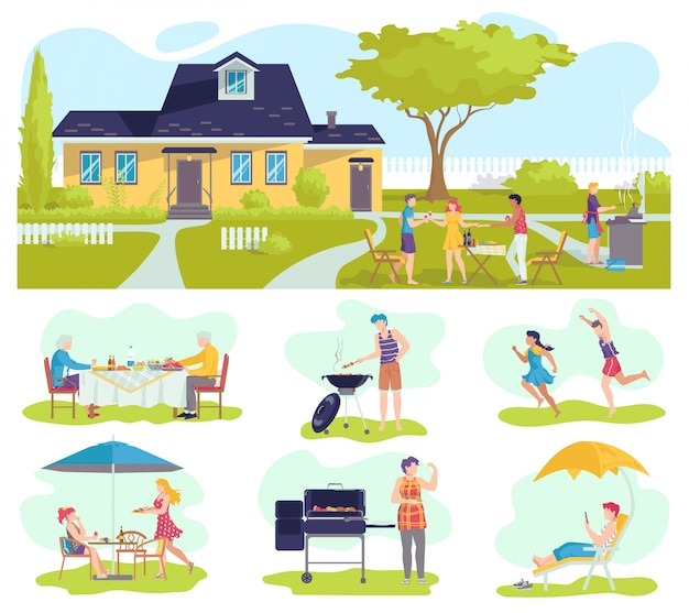 Family barbecue picnic in summer set of   illustration, barbeque with father, mother grilling meat, children playing.