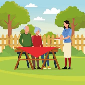 Семейный пикник для барбекю