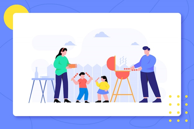 Family barbeque in backyard together   design illustration