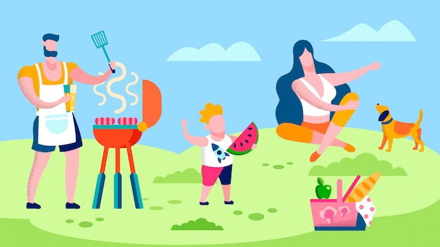 Family barbeque in countryside flat illustration