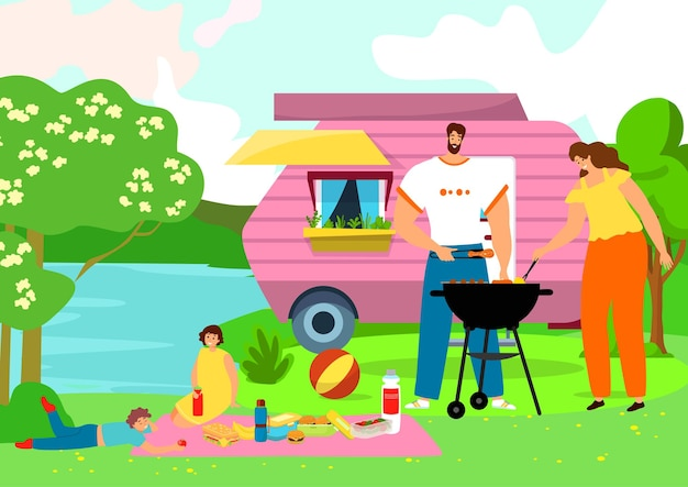 Family at bbq picnic, summer barbecue picnic at nature illustration