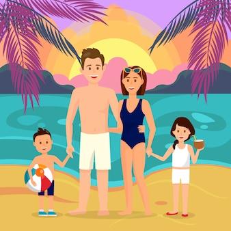 Family on beach at night cartoon illustration.