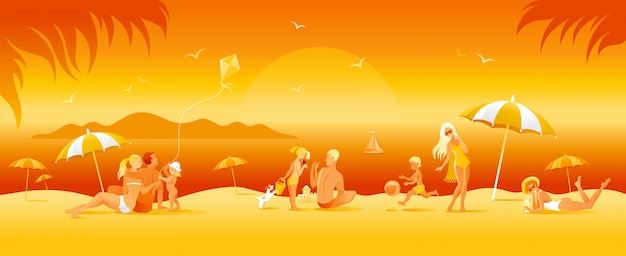 Family beach vacation banner. summer sea travel background in cartoon style. people fun illustration. happy woman, man, children, kid with sunny beach landscape pattern.