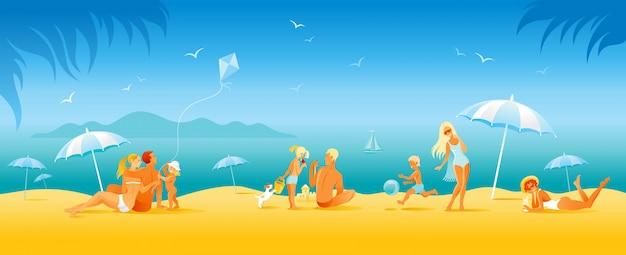 家族のビーチ休暇のバナー。漫画のスタイルで夏の海旅行の背景。人の楽しいイラスト。幸せな女、男、子供、太陽が降り注ぐビーチの風景のパターンを持つ子供。アウトドアライフ