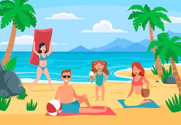 Family beach vacation. young family with happy kids sunbathing on sand beach, summer seashore cartoon  illustration