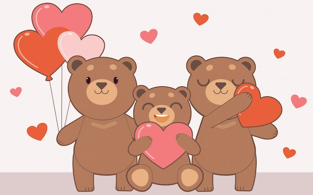 Family of bear holding a heart balloon and heart pillow.