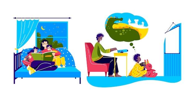 ベッドで子供たちに物語を読んでいるお母さんと息子におとぎ話を見せている父親との家族の就寝時の活動