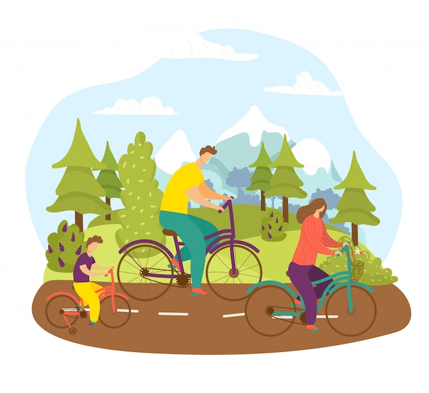 Family at bicycle ride, bike sport at summer road  illustration. happy man woman healthy people lifestyle, active cyclist at park. cartoon city nature,  outdoor leisure together.