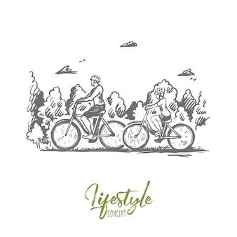 가족, 자전거, 스포츠, 행복, 라이프 스타일 개념. 손으로 그린 가족 자전거 야외 개념 스케치와 함께 산책.