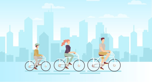 Family on bicycles on big modern city background father mother and son riding on bicycles