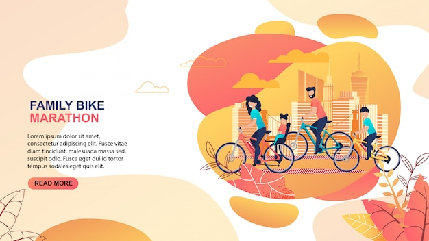 Family bike marathon advertisement. editable promotion text