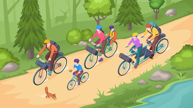 Family biking tourism, bike travel and bicycle outdoor adventure, isometric . family on bicycles riding in forest park or mountain road, eco tourism, camping and lifestyle activity