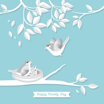 Family bird vector illustration paper art style