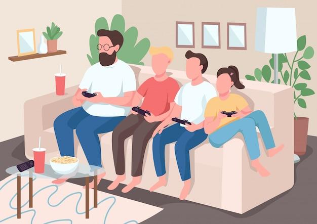 家族ボンディングフラットカラーイラスト。子供たちは両親と一緒にソファに座っています。子供たちはビデオゲームをします。ゲームパッドを持つママとパパ。背景にインテリアを持つ親戚2d漫画のキャラクター