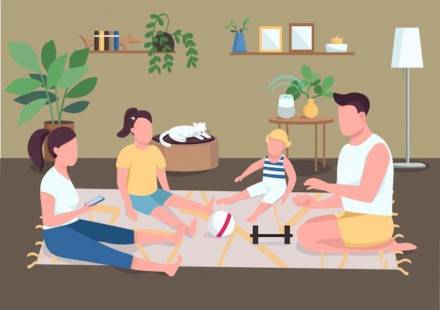가족 본딩 플랫 컬러 일러스트입니다. 부모와 자녀를위한 아침 일과. 아버지와 어머니는 운동 후 아이들과 함께 휴식을 취하십시오. 배경에 인테리어와 친척 2d 만화 캐릭터