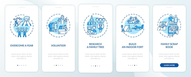 Family bonding tips onboarding mobile app page screen with concepts. research a family tree walkthrough 5 steps . ui  template with rgb color illustrations