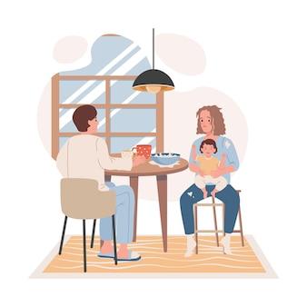 キッチンフラットイラストで家族の朝食
