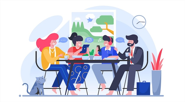 Family breakfast, parenting concept, intimate and cheerful flat illustration vector