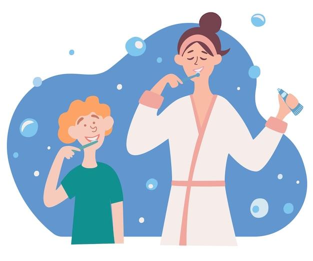 家族の歯磨き。母と息子が一緒に歯を磨くのベクトルイラスト。口の衛生。ウェブバナーの画像デザインと健康情報を公開しました。ベクター漫画のキャラクター。