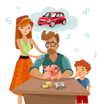 Family budget finance plan flat poster