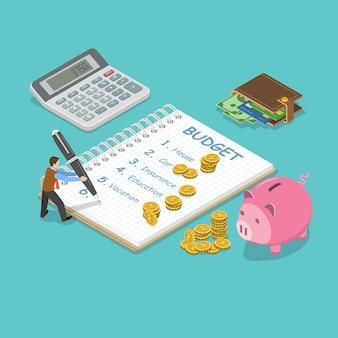 가족 예산 평면 아이소메트릭 개념
