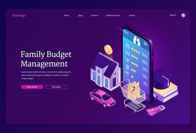 Family budget management isometric landing page.