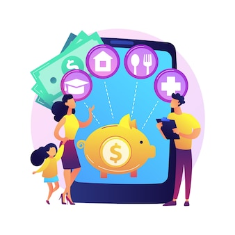 Family budget planning abstract concept  illustration. best economic decisions, personal budget strategy, family income and expenses management, financial household plan .