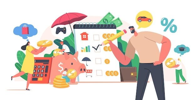 Family budget planning concept. people earn and save money, tiny male and female characters collect coins into huge piggy bank. universal basic income, capital, wealth. cartoon vector illustration