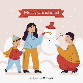 Family building snowman christmas tree christmas background