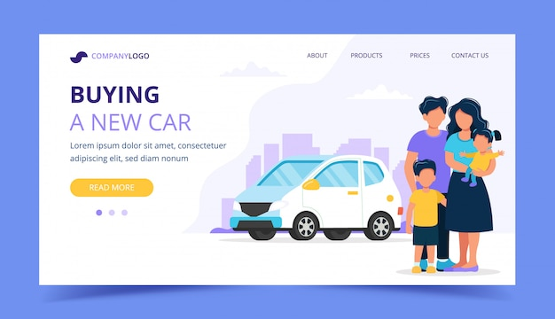 Family buying a car. landing page template.