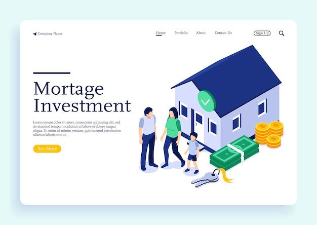 모기지로 집을 구입하고 은행에 신용을 지불하는 가족 사람들은 부동산에 돈을 투자합니다.