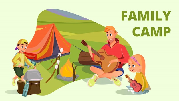 Family camp cartoon father son daughter camping