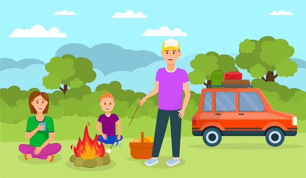 Family camping in forest cartoon illustration.