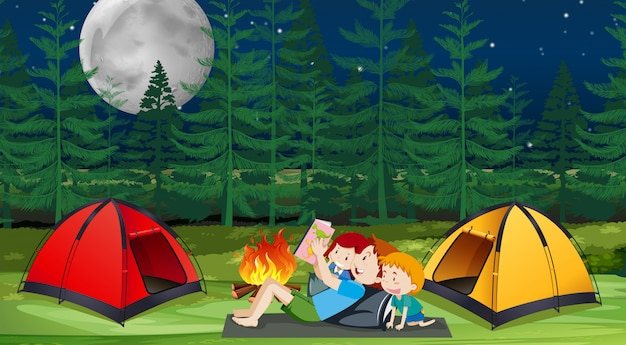 A family camping in forest